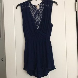 Navy blue lace back romper! Size small
